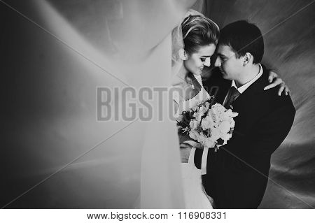 Beautiful Gorgeous Happy Blonde Bride And Groom Under Tulle On The Background Of Old Room