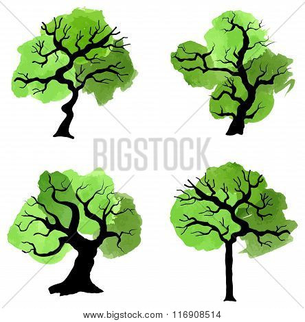 Abstract Green Trees With Splashes Of Color