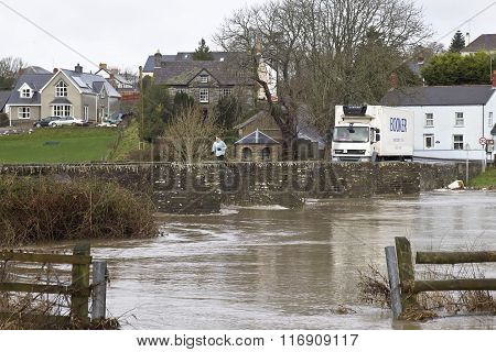 River flooding near village