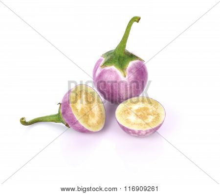 Purple Brinjal  Isolated On The White Background