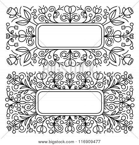 Linear frames. Floral pattern