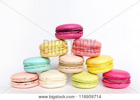 French sweet delicacy macaroon on white background