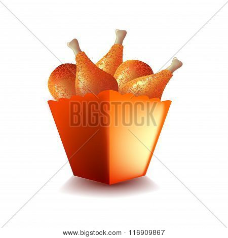 Fried Chicken Leg Bucket Isolated On White Vector