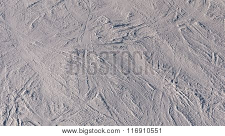 Traces Of The Ski On The Ski Slope