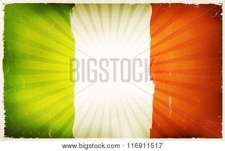 Vintage Irish Flag Poster Background