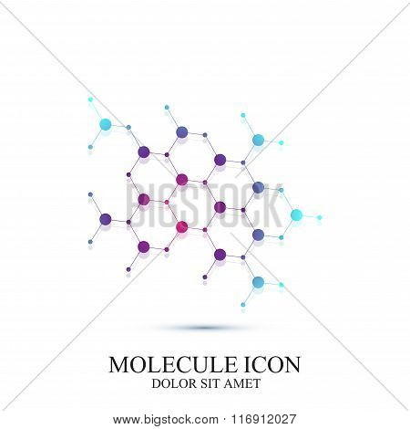Modern icon dna and molecule. Vector template for medicine, science, technology , chemistry, biotech