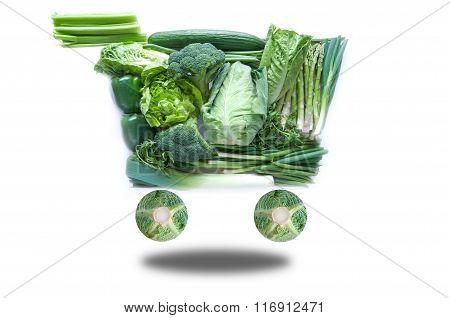 Fresh Green Grocery Cart