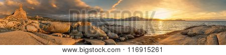 Panoramic View Of Sunset Over Calvi In Corsica