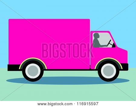 Vector Pink Truck Lorry for Copy Space