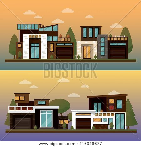 Vector flat illustration of two family house and sweet home banners outdoor street, private pavement