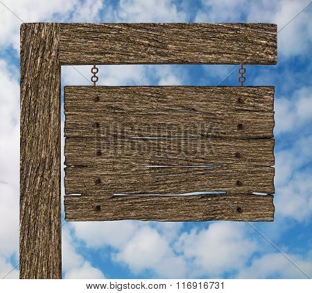 Blank Old Wooden Signboard, Signpost with Sky Background