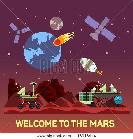 Vector flat illustration of Mars colony with comets, meteors, craters, satellites, bases, rover, shu