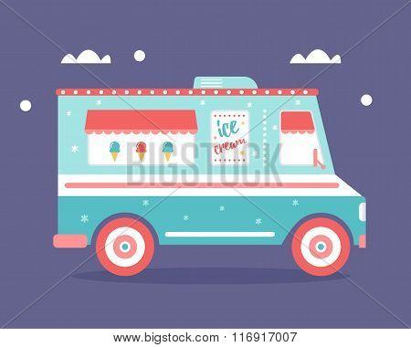 Ice Cream Truck Flat Illustration