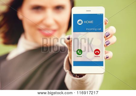 Incoming call on a mobile phone.