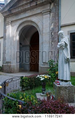 The Entrance To The Monastery Of Serra San Bruno With The Statue Of Padre Pio, Calabria, Italy