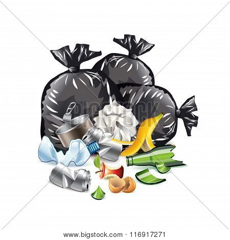 Waste Isolated On White Vector