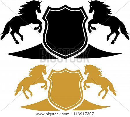 stock logo twins horse with shield
