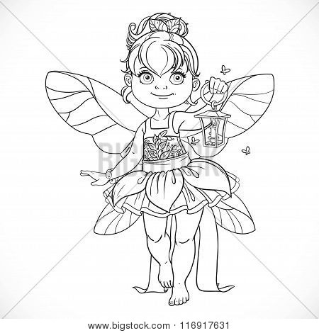 Beautiful Little Fairy With A Flashlight Outlined Isolated On A