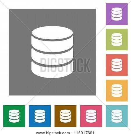Database Square Flat Icons