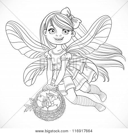 Cute Little Fairy Girl With A Round Wicker Basket Filled Fruits Outlined For Coloring Isolated On A