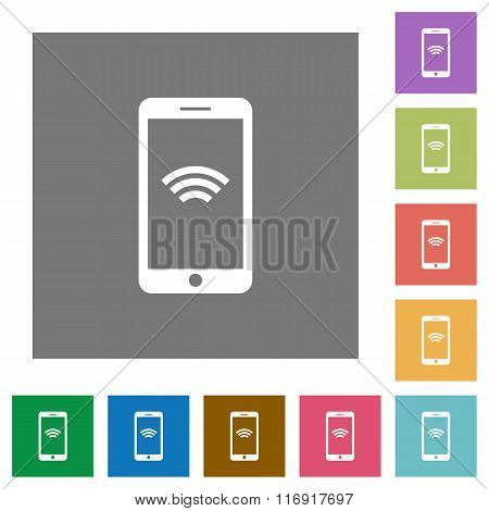 Wireless Mobile Square Flat Icons