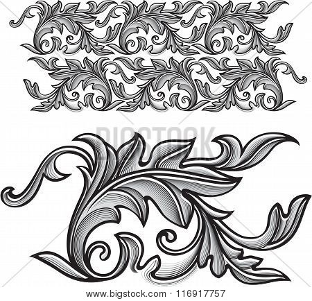 Vector Vintage Baroque Engraving Floral Ornament - Endless Pattern.