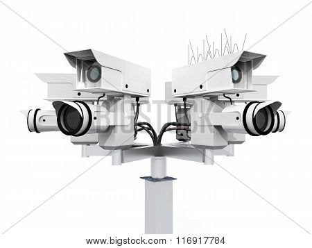 Surveillance camera isolated on white background