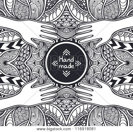 Zen-tangle or  Zend-doodle template  with hands black and whites