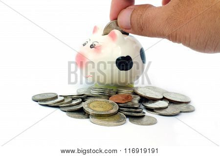 Thai Stack Coins With Piggy Bank On White Background