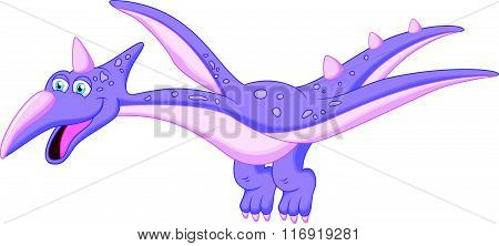 vector illustration of happy pterodactyl cartoon isolated on white