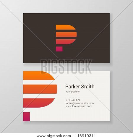 Letter P Stripes Business Card Template