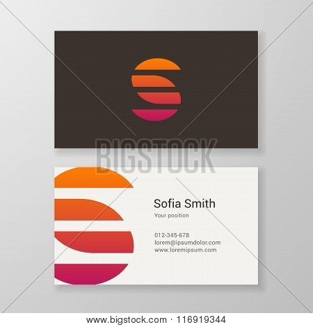 Letter S Stripes Business Card Template