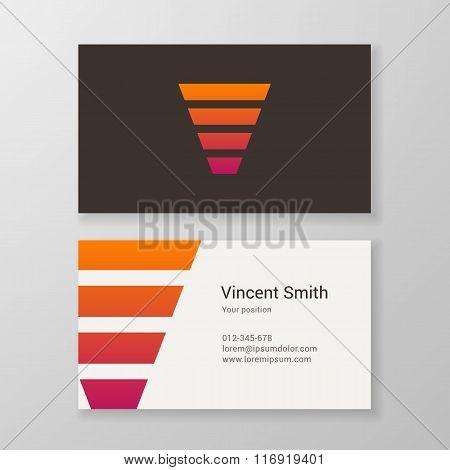 Letter V Stripes Business Card Template