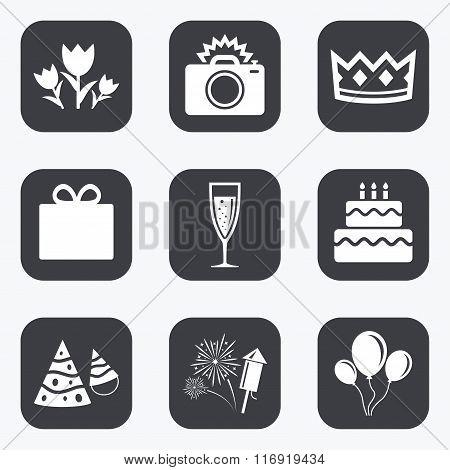 Party celebration, birthday icons. Fireworks.