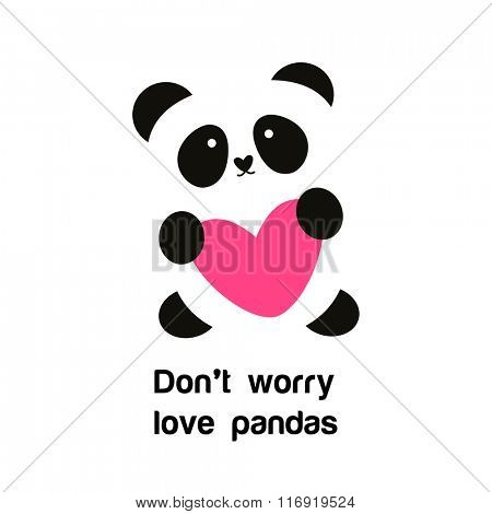 Sign of the panda with the heart - the idea for the poster for animal protection. Do not worry - love pandas.