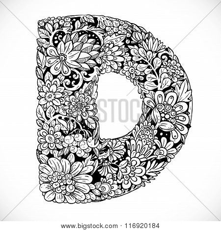 Doodles Font From Ornamental Flowers - Letter D. Black And White