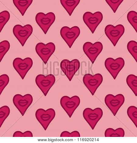 Seamless Pattern Hand Drawn Lips And Hearts.
