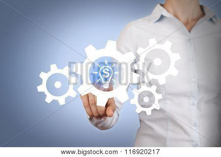 Businesswomen Finance Idea Gear