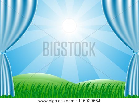 Spring is coming. Green grass and sun shine. Vector.