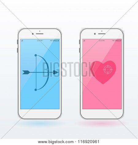 Smartphones With Heart, Bow And Arrow. Valentine's Day Concept. Modern Infographic Template. Fla