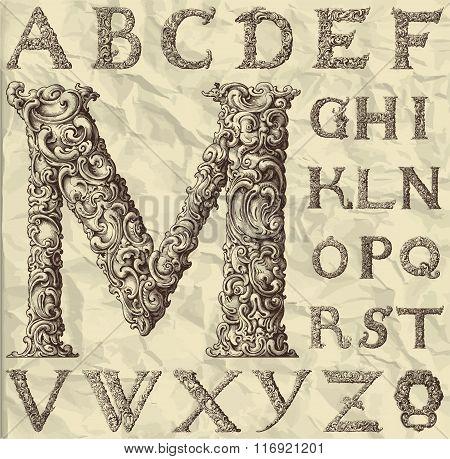 ornamental letter alphabet / vintage/ vector illustration