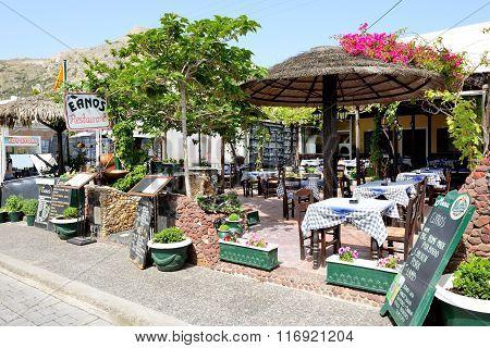 Kamari, Santorini Island, Greece - May 19: The Outdoor Restaurant Near Beach On May 19, 2014 In Kama