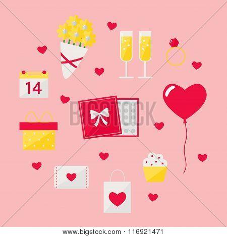 Valentine day icons set on background.