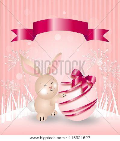 Pink Easter Rabbit Greeting Card