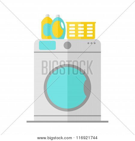 Washing machine isolated icon on white background.