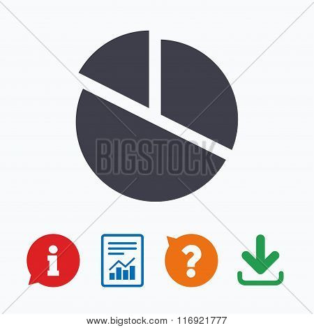 Pie chart graph sign icon. Diagram button.