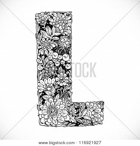 Doodles Font From Ornamental Flowers - Letter L. Black And White