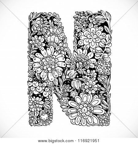 Doodles Font From Ornamental Flowers - Letter N. Black And White