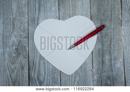 Heart Shaped Paper With Pen