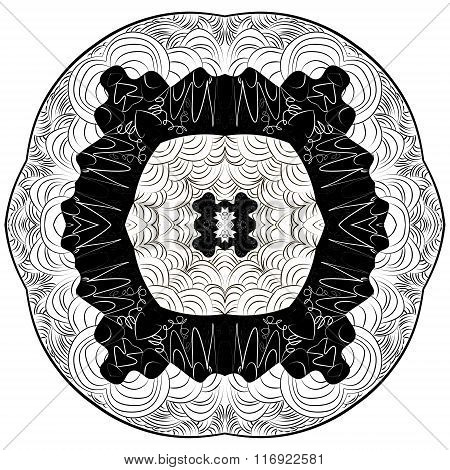 Abstract Mandala. Circular Monochrome Pattern
